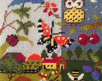 1973 Nature Themed Needlepoint by Bob Miller for Columbia Minerva Corp.