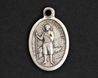 Saint Isidore Medal. Catholic Pendant. St Isidore Pendant. Saint Isidore Charm. Catholic Saint Medal. 25mm x 16mm (Qty 1)