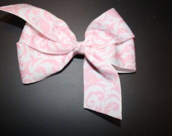 Pink Damask Hair Bow
