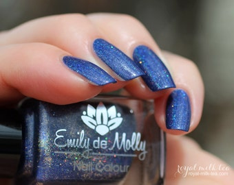 "Nail polish - ""Reign of Osiris"" dark blue holo polish with gold glitter"
