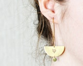 FOX earrings // crescent raw brass hook earrings // hand stamped jewelry