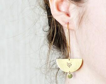 FOX earrings // crescent raw brass hook earrings // hand stamped jewelry