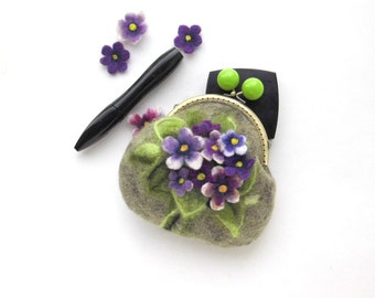 Wet Felted FLOWER Violets coin purse Handmade gift for her under 50