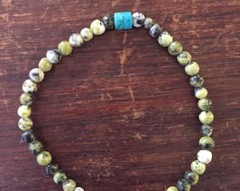 African Lemon Turquoise & Turquoise Seed Bead Bracelet