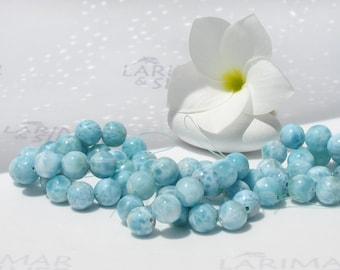 9mm Larimar beads from Larimarandsilver - turquoise Larimar beads, aquamarine beads, sky blue beads, handmade Larimar beads 8 inches strand