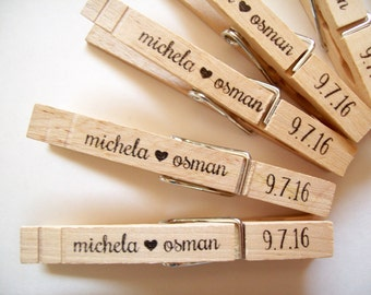 Personalized Clothespins - Names and Date 20 Count - Wedding Welcome Bag Favor Treat Clips Wood Pegs