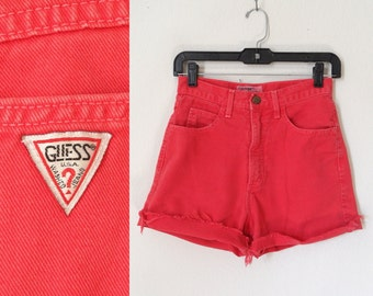80s 90s Guess Red Denim Highwaisted Cutoff Shorts Hipster Grunge Punk 26 inch waist