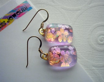 Dichroic Earrings Pink Flowers 14K Gold Fused Glass Iridescent Pierced Dangles Sparkle Glass Lavender Pink Jewelry Soft Colors Dichromatic