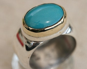 Turquoise Silver Rings, Pure Silver Turquoise Ring, Turquoise Ring, Silver and Gold Ring, Turquoise Jewelry, Birthstone Silver Ring , Size 8