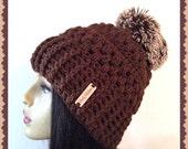 Brown Faux fur Crochet Slouch  loose fitting stylish woman hat pom pom