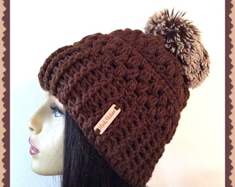 Brown Faux fur Crochet Slouch  loose fitting stylish woman hat pom pom