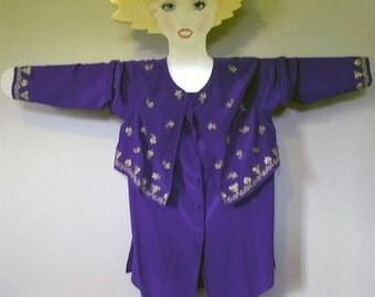 Vintage MINT 70s Diane Von Furstenberg Silk BOHO Regal Purple  Hippie Chic  Tunic  Blouse