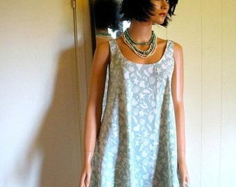 Summer Beachy Sea Green  Star Fish and Shell Patterned Comfortable Throw On And Wear Awesome Tent Style  Dress