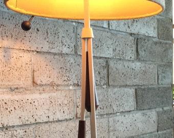 Fab Vintage 60s Teak Iron Table Lamp Mid Century Modern Retro Atomic Era Cloth Shade Sixties Danish