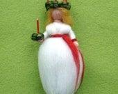 Lucia Girl Christmas Decoration  Needle Felted Wool Swedish   X-MAS Ornament  Wool  Craft  Waldorf Inspired