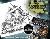 PRINTABLE Digi Stamp Woodland Witch Enchanted Halloween Coloring Page Fun Fantasy Art Hannah Lynn