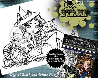 PRINTABLE Digi Stamp Woodland Witch Enchanted Halloween Coloring Page Fun Fantasy Art Hannah Lynn