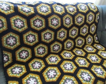 Handmade Crochet Golden Spring Kaleidoscope Afghan With Black Edging 48 x 68