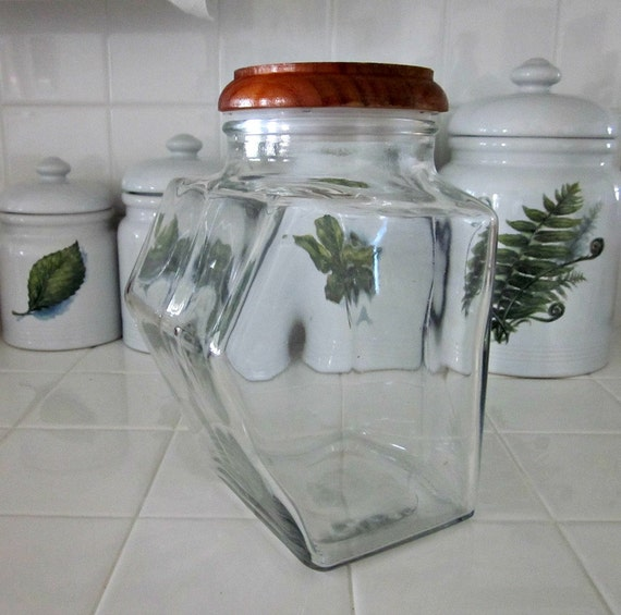 vintag tall clear glass canister with wooden lid kitchen home kitchen kitchen dining storage organization kitchen