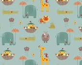 Blue Teal Red and Yellow Animal Ark Jersey Knit Fabric, Giraffe Crossing 2 By The Riley Blake Designers, Main Print in Teal, 1 Yard