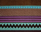 Purple Teal Tan and Brown Geometric stripe Sweater Knit Fabric, 1 Yard