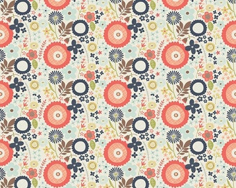 Navy Coral Blue and Green Floral Cotton Fabric, Woodland Spring Designs by Dani for Riley Blake Designs, Floral Print in Navy, 1 Yard