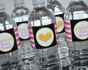 Bridal Shower Water Bottle Labels, Wedding Decorations, Bachelorette Party, Pink, Black and Gold, Bridal Shower Wedding - Set of 10