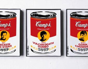Star Trek: Kirk, Spock, McCoy Pop Art Soup trio, original framed art by Zteven
