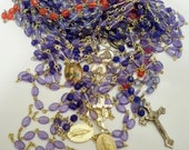 Rosary necklace lot - 11 rosary chains - Rosary medal connectors - Crucifix / Cross - Religious - Destash lot - cheesegrits