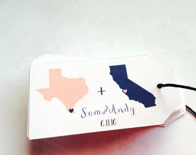 Custom Name/Date State Tag, sets of 25,samples available, State Tags, Custom, Welcome Tags, State Gift Tags,Hang Tags, Wedding Favor Tags