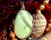 Pendant LIME Sherbet Green ARAGONITE a Stone from PERU Handmade w/ Sterling