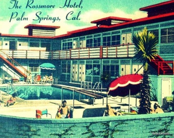 Motel Swimming pool art, Mid Century Modern Art Motel Print, Mid Century swimming pool, PALM SPRINGS Art Vintage California Art, Aqua Red