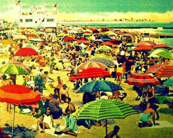 Beach Umbrella Art, Vintage Striped Beach Umbrellas Photograph, Coastal Wall Art, Coastal Art, Aqua, Red, Beach Wall Art, Beach Photograph