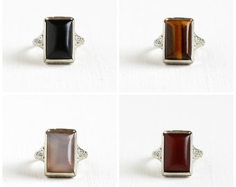 """Sale- Vintage 14k White Gold """"The Variety Ring""""- Art Deco Onyx, Tiger's Eye, Rose Quartz, Carnelian Interchangeable Four in One Fine Jewelry"""