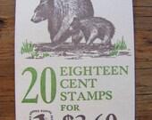 American Wildlife 20 Vintage UNused US Postage Stamps 18c Booklet Natural History Biology Mammals Bear Sea Elk Save the Date Wedding Postage