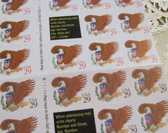 Where Eagles Dare 72 Vintage US Postage Stamps 29c Self-Adhesive American Eagle and Shield USA Save the Date Patriotic Election Vote Freedom