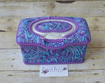 READY TO SHIP, Purple Blue and Gold Paisley, Flip Top Nursery Wipe Case, Baby Wipe Case, Large Wipe Tub, Diaper Wipes Case, Baby Shower Gift