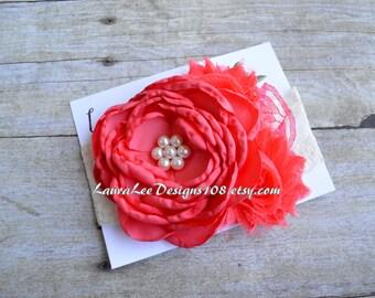 READY to SHIP Coral Pink Singed Satin Flower Headband, OTT Headband Photo Prop, 1st Birthday Headband, First Birthday, Smash Cake Photo Prop