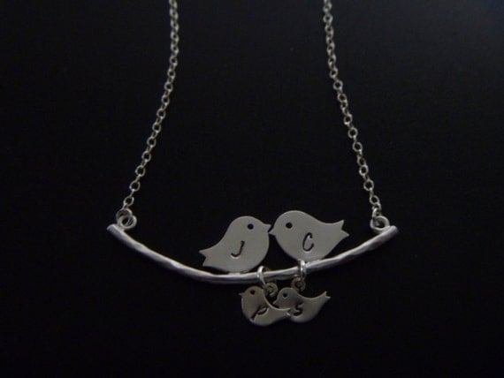 Love Birds Necklace, Two baby Birds, Mommy Jewelry, Birds Necklace, Birds on branch