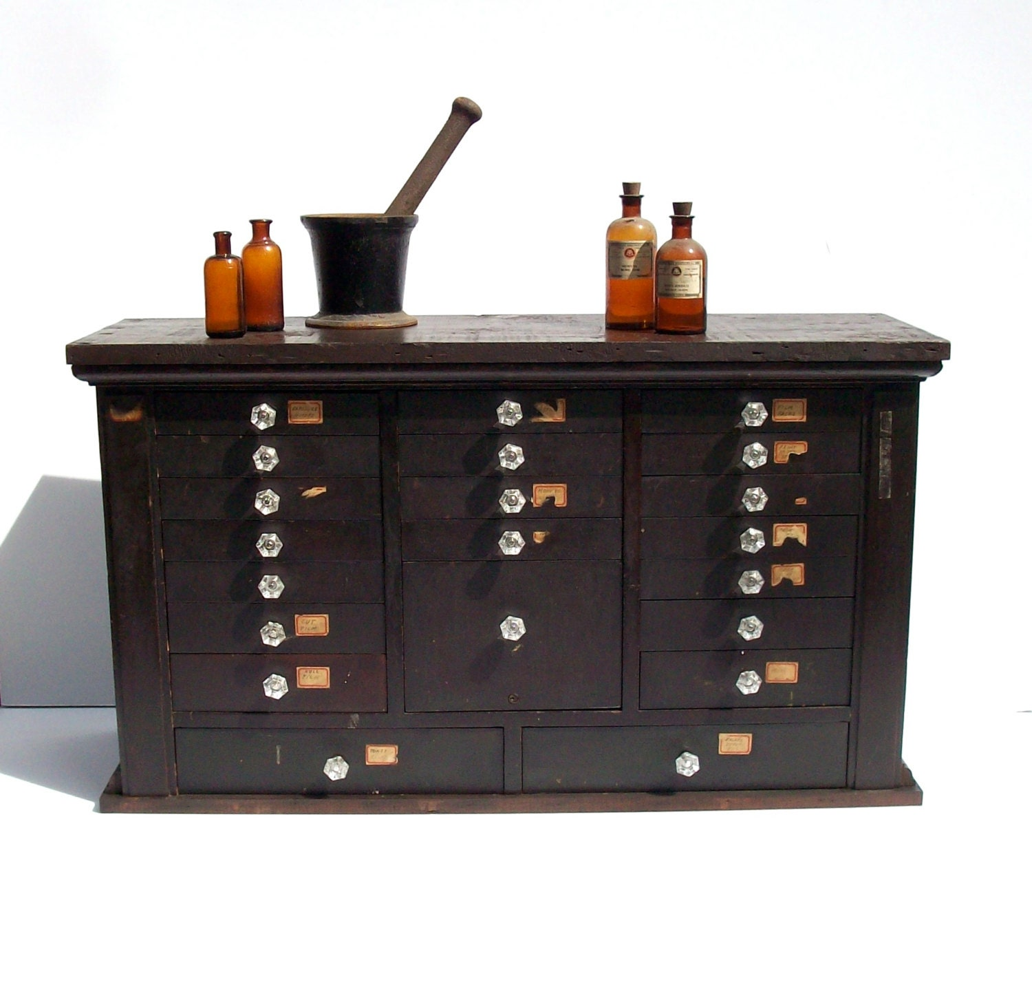 Vintage Antique Wood Apothecary Dental Cabinet / 21 Drawers /