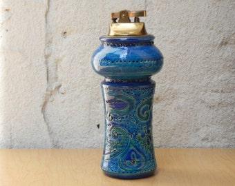 Rosenthal Netter Italian Tall Italian Ceramic Table Lighter, Rimini Blue