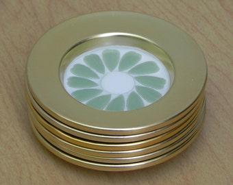 Set of Six Gold Rim Mosaic Coasters by Nevco