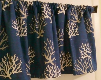 SALE NEW Window CURTAIN ValanceNavy Coral Valance-window curtain-valance