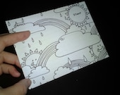 Sun and Rainbows write fold mail stationery set 6 pieces that double as adult coloring pages