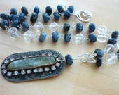 green kyanite pendant & blue kyanite bead necklace. Sterling silver necklace.