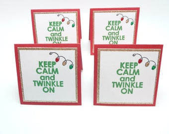 Keep Calm Christmas Cards Set of 4, Twinkle Lights Christmas Cards, Christmas Mini Note Cards, Fancy Greeting Cards Handmade Christmas Cards