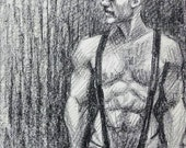 Leather Man, a Little Stringy, but Probably Okay for a Snack,  8 and a half x 11 inches by Kenney Mencher (gay art)