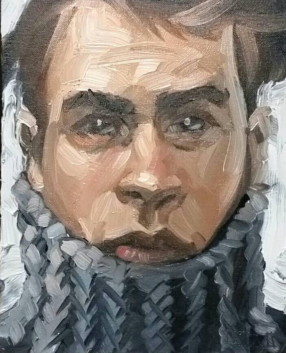 Thick Hair, a Turtleneck and Beautiful Eyes, oil on canvas panel 8x10 inches Kenney Mencher