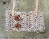 Crochet Chunky Head Warmer With Wood Buttons~Ready to ship~FREE SHIPPING