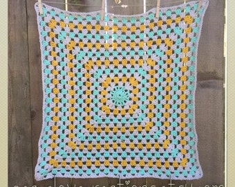 Granny Square Crochet Baby Blanket~Ready to Ship~FREE SHIPPING